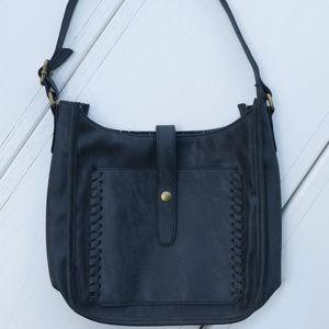 Handbags - Gray Faux Leather Handbag Purse Braid Trim